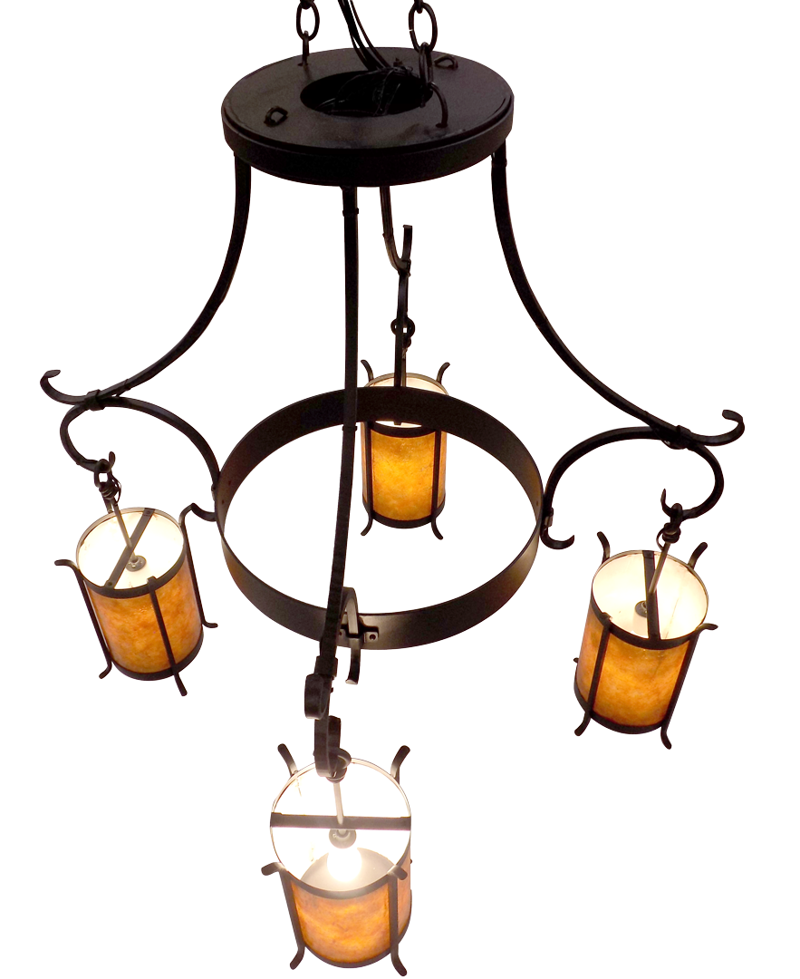 Custom Chandelier #28; Dark Copper; amber mica diffusers; 4 x 120V A19
