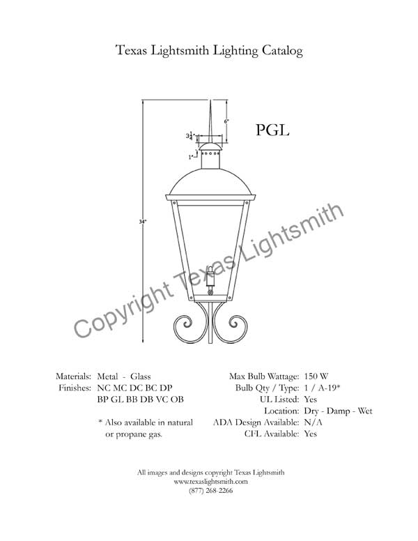 PGL spec drawing