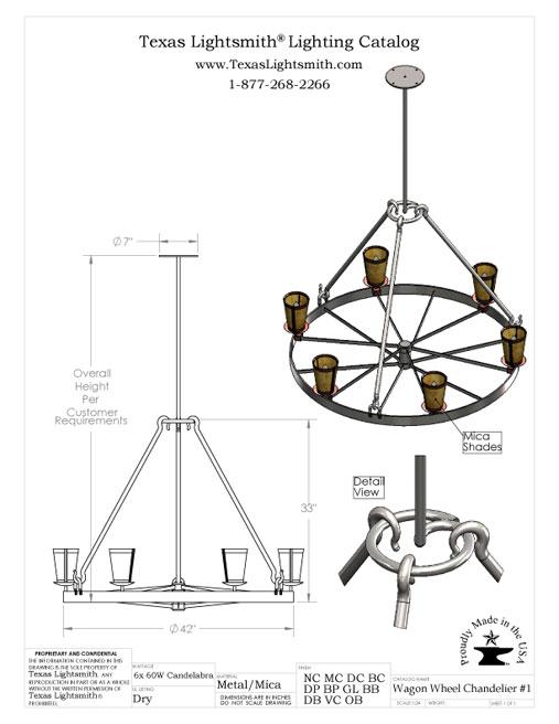 Wagon Wheel Chandelier - spec drawing
