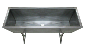 This Custom Stainless Steel Trough Sink Features Decorative Supports And  All Stainless Steel Construction.