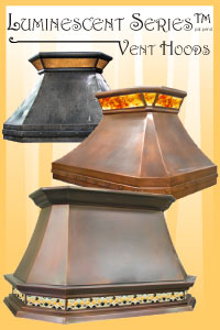 luminescent custom range hoods accented with back lit art glass