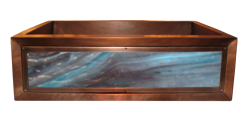 art glass copper apron sink