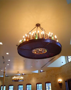 Beer bottle chandelier for Pearl Brewery