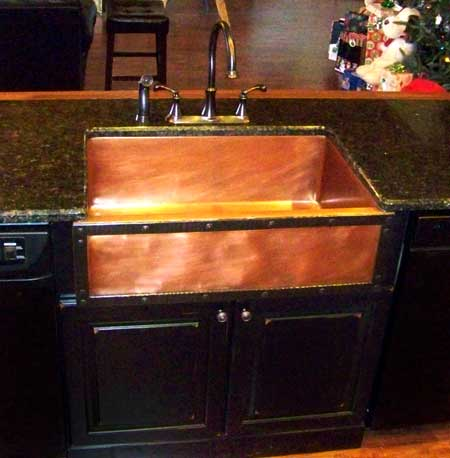 Private Residence 25 Copper Sink w Riveted Border
