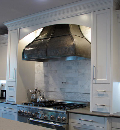 Range hood #43 in medium nickel silver; Rob Roy