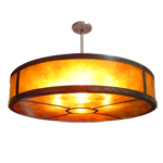 Large circular pendant lighting fixture made of assembled copper, with amber mica diffuser