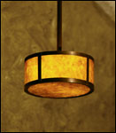 Pendant lighting fixture BPPF made of copper and amber mica