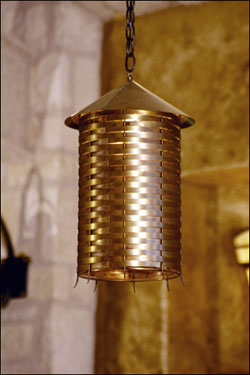 Woven brass pendant light fixture