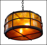 Custom pendant lighting fixture EGDPF-4; wrought iron and mica