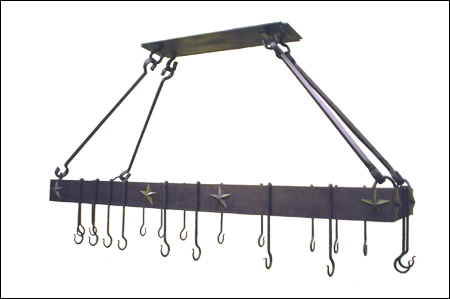 wrought iron hanging pot rack with 3d stars
