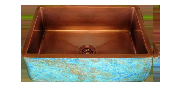 Custom Kitchen Copper Sink Verdigris Apron Sink