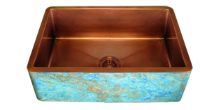 copper double basin farmhouse sink with a custom turquoise verdigris finish