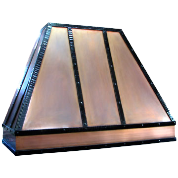 Bronze Range Hood with hammered black copper strapping
