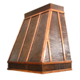 hammered copper range hood left view