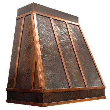 Hammered Copper Range Hood with smooth copper strapping and decorative rivets