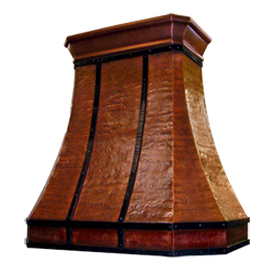custom hammered copper range hood Texas Lightsmith Model #20, D