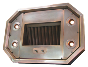 custom range hood liner/insert with a copper premiere baffle filter and 4 halogen lights