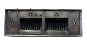 nickel silver 48in range hood insert with halogen lights and baffle filters