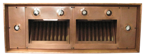 copper range hood insert with halogen lights and baffle filters
