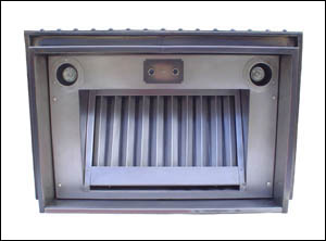 nickel silver range hood insert with halogen lights and baffle filter