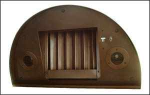 round copper range hood insert with halogen lights and baffle filter