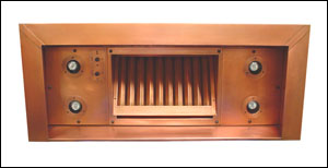 copper range hood insert with halogen lights and baffle filter