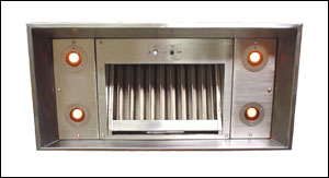 stainless steel custom range hood insert with halogen lights and baffle filter