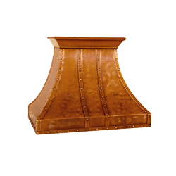 custom soft distressed copper range hood Texas Lightsmith Model #13, A