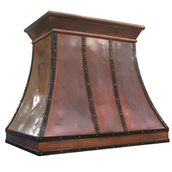 custom copper range hood Texas Lightsmith Model #13, H