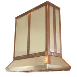 custom stainless steel and copper range hood Texas Lightsmith Model #27
