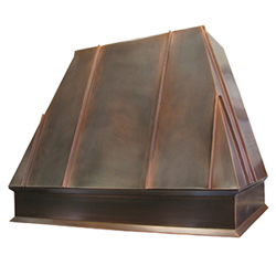 custom copper range hood with standing seams