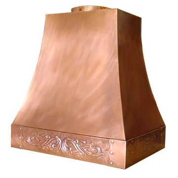 custom copper range hood Texas Lightsmith Model #4