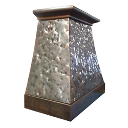 custom distressed copper range hood Texas Lightsmith Model #6, D