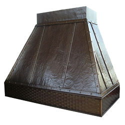 custom hammered copper range hood Texas Lightsmith Model #7, A